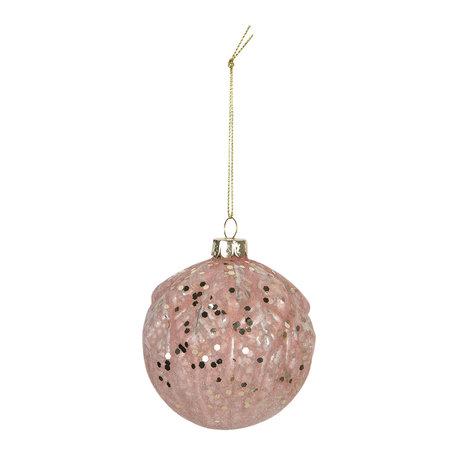 Kerstbal (set van 4) ø 8 cm Roze | 6GL2741 | Clayre & Eef