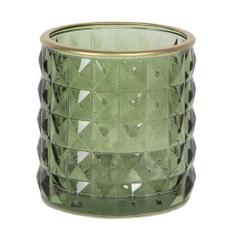 Waxinelichthouder ø 7*7 cm Groen | 6GL2785 | Clayre & Eef