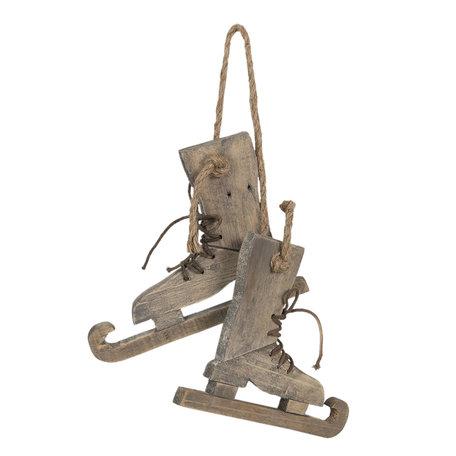 Decoratie schaatsen 26*4*20 cm Bruin | 6H1860 | Clayre & Eef