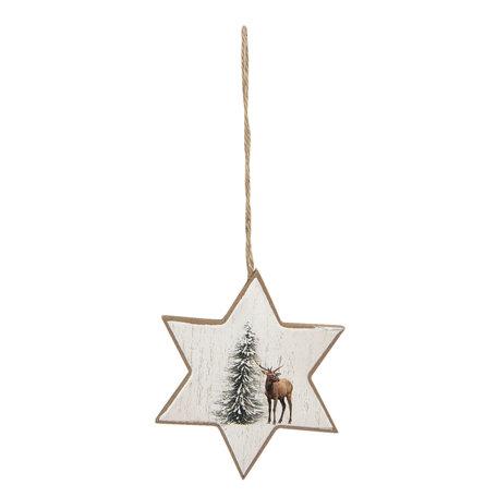 2 STUKS Hanger ster 9*1*11 cm Bruin | 6H1890 | Clayre & Eef