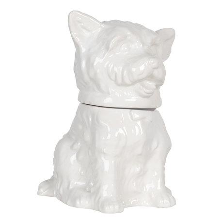 Voorraadpot met deksel hond 20*20*26 cm Wit | 6CE1109 | Clayre & Eef