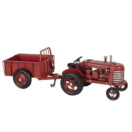 Model tractor met aanhangwagen 17*9*10 cm / 17*10*10 cm Rood   6Y3823   Clayre & Eef