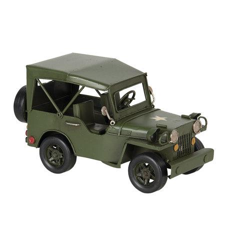 Model jeep 17*9*10 cm Groen   6Y3824   Clayre & Eef