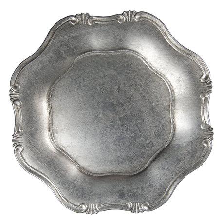 Bord ø 33 cm Zilverkleurig   64597ZI   Clayre & Eef