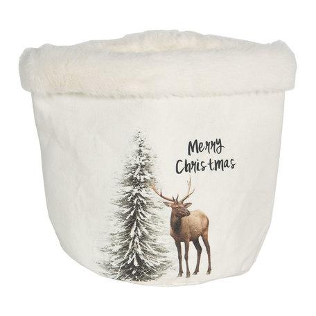 Decoratie mandje kerst ø 17*18 cm Wit | 6H1900 | Clayre & Eef