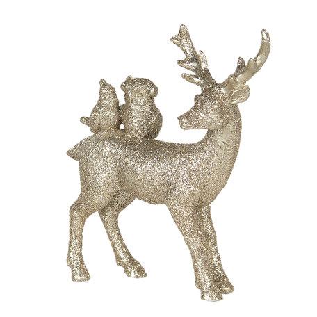 Decoratie hert 11*4*13 cm Goudkleurig   6PR3022   Clayre & Eef