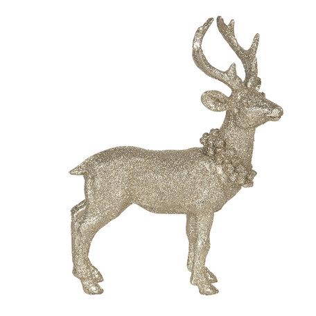 Decoratie hert 16*6*21 cm Goudkleurig   6PR3027   Clayre & Eef