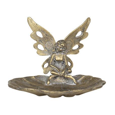 Decoratie schaaltje engel 11*10*8 cm Goudkleurig   64612   Clayre & Eef