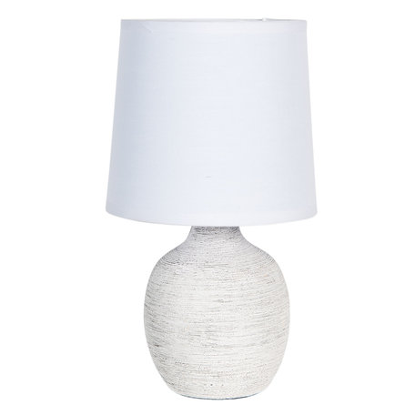 Tafellamp ø 15*26 cm E14/max 1*40W Wit   6LMC0016   Clayre & Eef