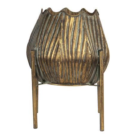 Decoratie pot metaal 28*28*38 cm Koperkleurig | 6Y4022 | Clayre & Eef