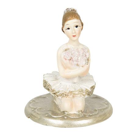 Decoratie ballerina 4*4*6 cm Zilverkleurig | 6PR2809 | Clayre & Eef