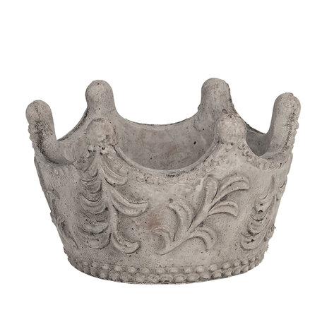 Decoratie kroon ø 14*10 cm Grijs   6TE0300S   Clayre & Eef
