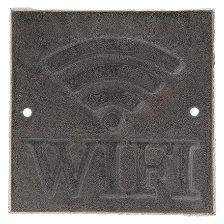 Tekstbord WIFI 8*8*0.5 cm Bruin   6Y3015   Clayre & Eef