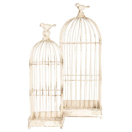 Decoratie vogelkooi (set van 2) 22*22*58 / 16*16*47 cm Wit | 6Y3533 | Clayre & Eef