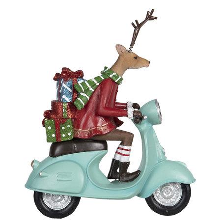 Decoratie hert op scooter 22*9*24 cm Multi | 6PR2980 | Clayre & Eef