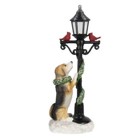 Decoratie hond met lantaarn 17*12*41 cm Multi   6PR2986   Clayre & Eef