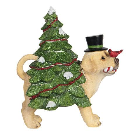 Decoratie hond met kerstboom LED 21*13*23 cm Multi   6PR2988   Clayre & Eef