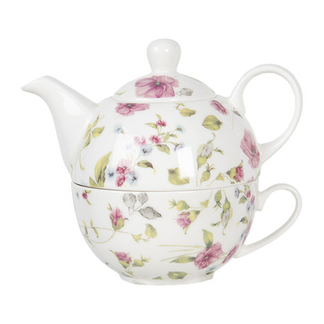 Tea for one set 17*11*14 cm / 0,4L Multi | POPTEFO | Clayre & Eef
