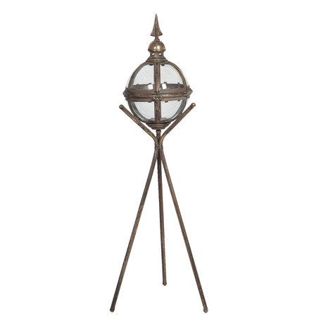 Lantaarn op driepoot 29*27*90 cm Grijs   5Y0737   Clayre & Eef