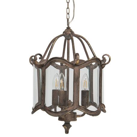 Hanglamp 32*29*45 cm E14/max 3*60W Grijs   6LMP691   Clayre & Eef