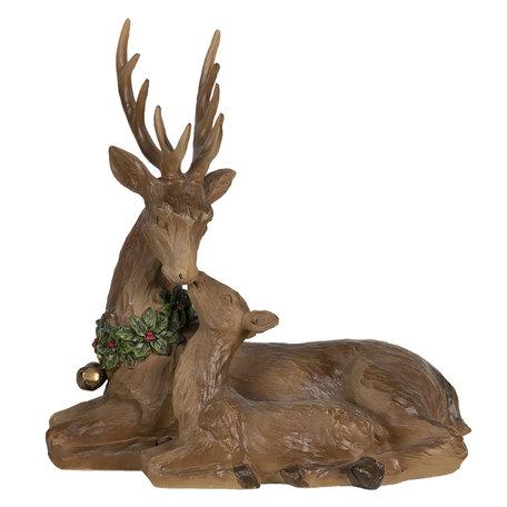 Decoratie rendier 23*12*25 cm Bruin | 6PR2990 | Clayre & Eef