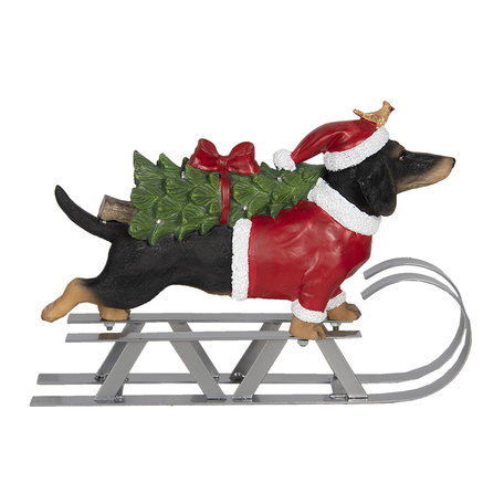 Decoratie hond op slee LED 40*10*28 cm Multi   6PR2999   Clayre & Eef