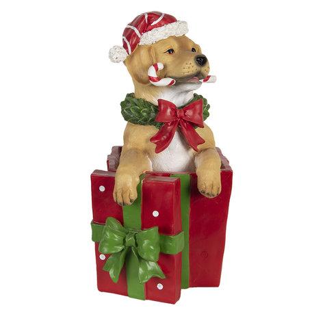 Decoratie hond met kerstcadeau LED 23*19*39 cm Multi | 6PR3000 | Clayre & Eef