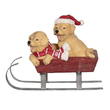 Decoratie honden op slee LED 28*13*22 cm Multi | 6PR3002 | Clayre & Eef