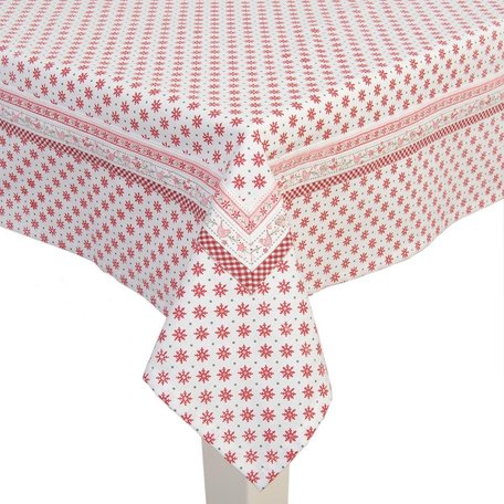 Tafelkleed 150*150 cm Rood wit | DOC15 | Clayre & Eef