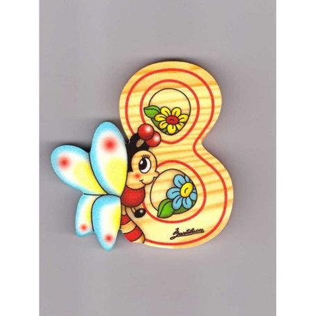 Cijfer 8 met een vlinder en een bloem hout | Bartolucci
