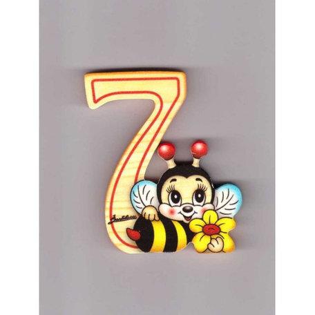 Cijfer 7 met een bijtje en een bloem hout | Bartolucci