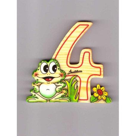 Cijfer 4 kikker met bloem hout Bartolucci