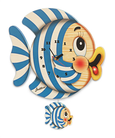 Muurklok vis hout 40 x 32,5 cm | Bartolucci