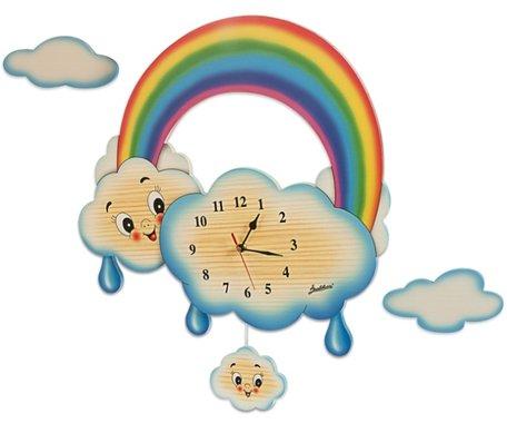 Wandklok regenboog wolken | Bartolucci