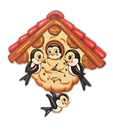 Muurklok vogels & Vogelhuisje bewegend   Bartolucci