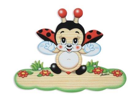 Magneetbord lieveheersbeestje van hout 18,5 x 13,5 cm | Bartolucci