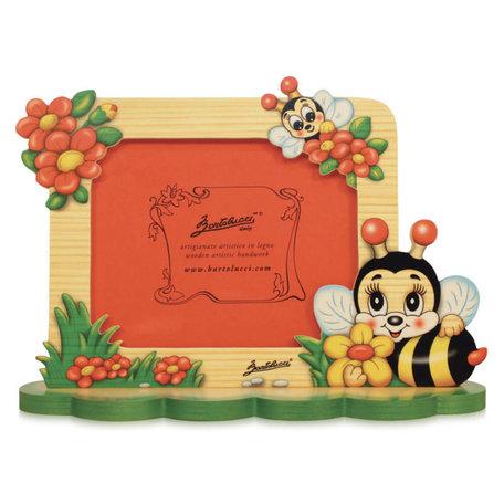 Fotolijstje hout bij met bloemen 25 x 17,5 cm   Bartolucci