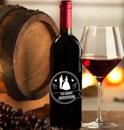 Etiket / Sticker wijn van harte gefeliciteerd huwelijk