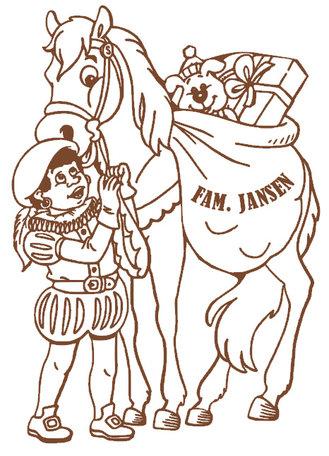 Raam / muur sticker zwarte piet met paard & naam | Rosami