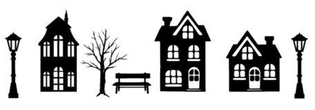 Basisset 1 raamsticker set straat met 3 huisjes kerst Herbruikbaar statisch | Rosami
