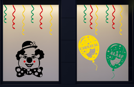 15 delige stickerset herbruikbaar serpentine clown & ballonnen | Carnaval | Rosami