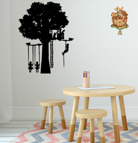 Muursticker speelboom | Kinderen op schommel | Thema Speeltuin | Rosami