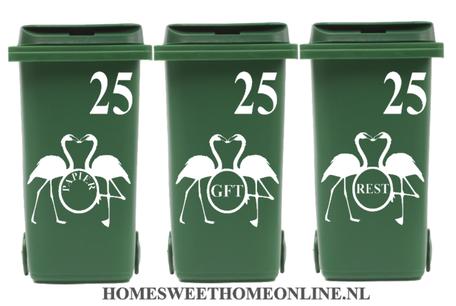 6 delige set container sticker flamingo kus met huisnummer | Kliko | Rosami