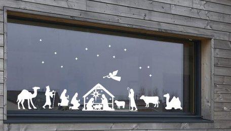 Kerststal raam stickerset herbruikbaar 22 delig | Rosami