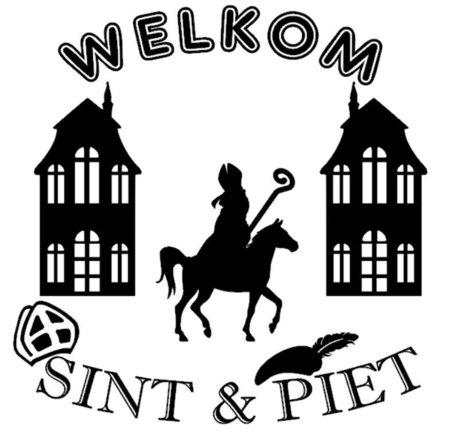 Welkom Sint & Piet sticker Sinterklaas op paard | Rosami