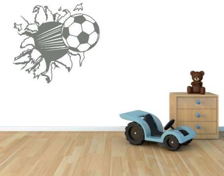 3d muursticker voetbal licht grijs 55 x 50 cm| Rosami