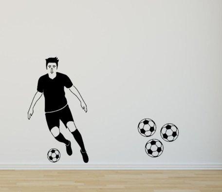 Muursticker voetballer silhouette 70 x 40 cm | Rosami
