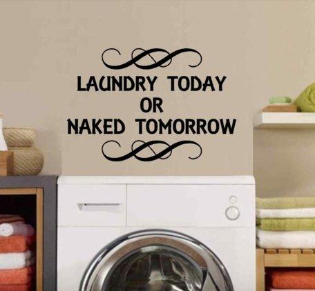 Sticker Wasruimte | Laundry today Naked Tomorrow | Rosami