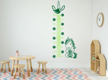 Muursticker groeimeter eenhoorn appeltjes groen/groen | Rosami