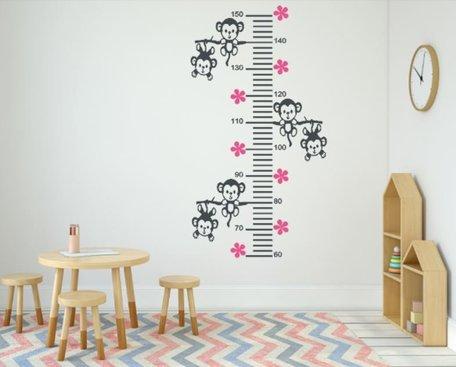 Sticker groeimeter aapjes aan tak grijs / roze 102 x 55 cm | Rosami